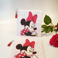 Minnie Mouse, Zip Pouch, Travel Pouch, Cosmetic Purse, Essential Purse, Disney
