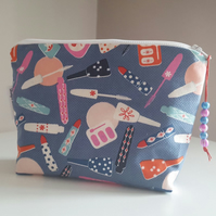 Makeup print Makeup Bag, Cotton Cosmetics Bag, Zippered Pouch