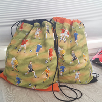 Football Print Drawstring Bag, Drawstring backbag, Practice Bag