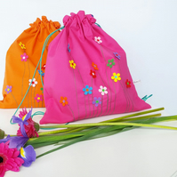 Flower Embroidery, Drawstring Bag, Floral Bag, Eco Bag, Kids Backpack