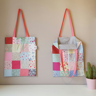 Cotton Tote Bag, Book Bag, Eco Bag, Floral Bag, Patchwork Bag