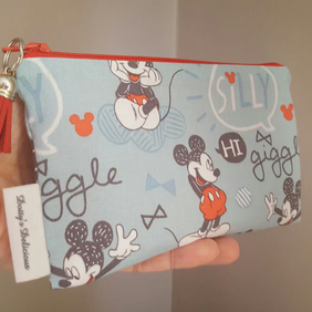 Mickey Mouse Makeup Bag, Mickey Mouse Small Zippered Cosmetics Bag.