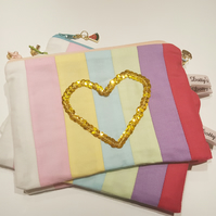 Rainbow, Heart, Zip Pouch, Stripes, Coin Pouch, Small Wallet, Patchwork, Sequins