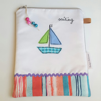 Sailing, Zip Pouch, Sail Boat, Cosmetic Case, Zip Wool Makeup Pouch, Emboidery