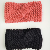 Knitted Twist Headband, Wool Cozy Twiated Headband, Wool Ear Warmers