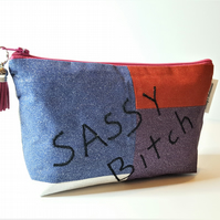 Sassy Bitch Makeup Bag, Glitter Makeup Pouch, Bitch Zipped Bag.