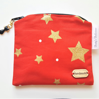 Gold Stars Zippered Pouch,  Shiny Coin Purse, Festive Small Purse.