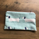 Blue Dachshund Sausage Dog Pencil Case Pouch