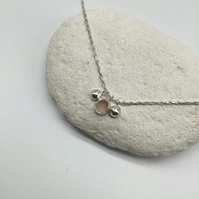 Pink Sea Glass and Pebble Necklace