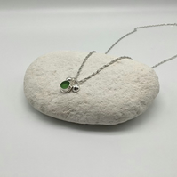 Light Green Sea Glass and Pebble Necklace