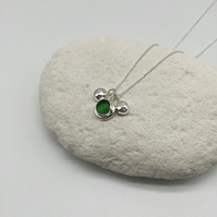 Bottle Green Sea Glass and Pebble Necklace