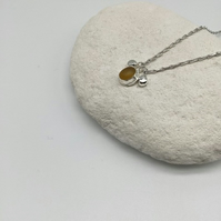 Yellow Sea Glass and Pebble Necklace