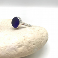 Beautiful Blue Sea Glass Ring - Size O