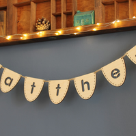 Mini Personalised Wooden Wood Bunting