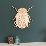Large Wood Wooden Folk Art Beetle Wall Hanging
