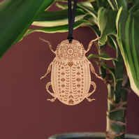 Wooden Folk Art Beetle Decoration