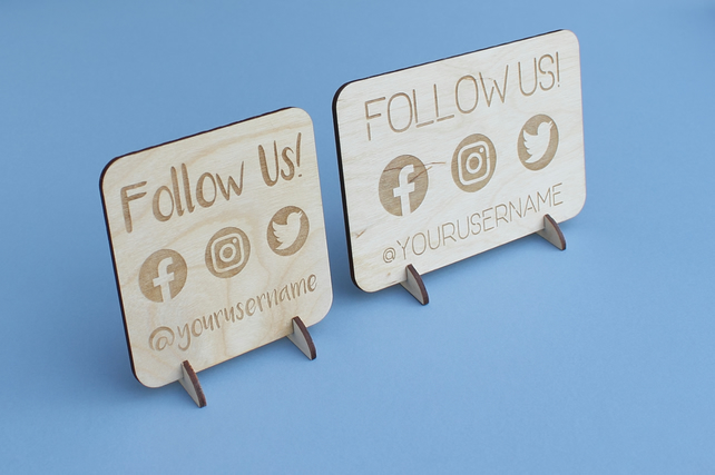 Follow Us Social Media POS Sign Stand for Craft Stall Market