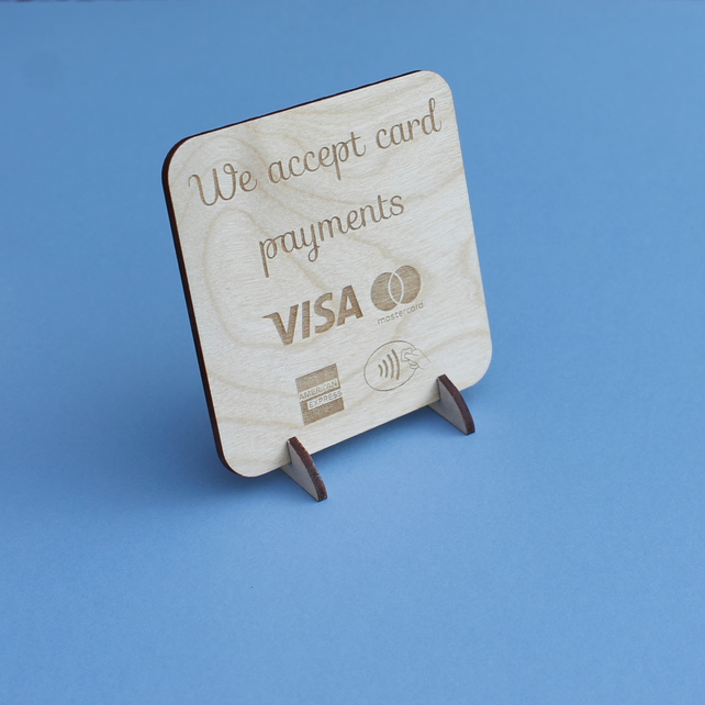 We accept card payments contactless POS Sign Stand for Craft Stall Market