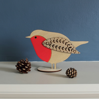 Standing Wooden Robin Christmas Decoration - Hand Painted