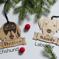 Personalised Christmas Dog Decoration - Spaniel,labrador,pug,beagle,whippet