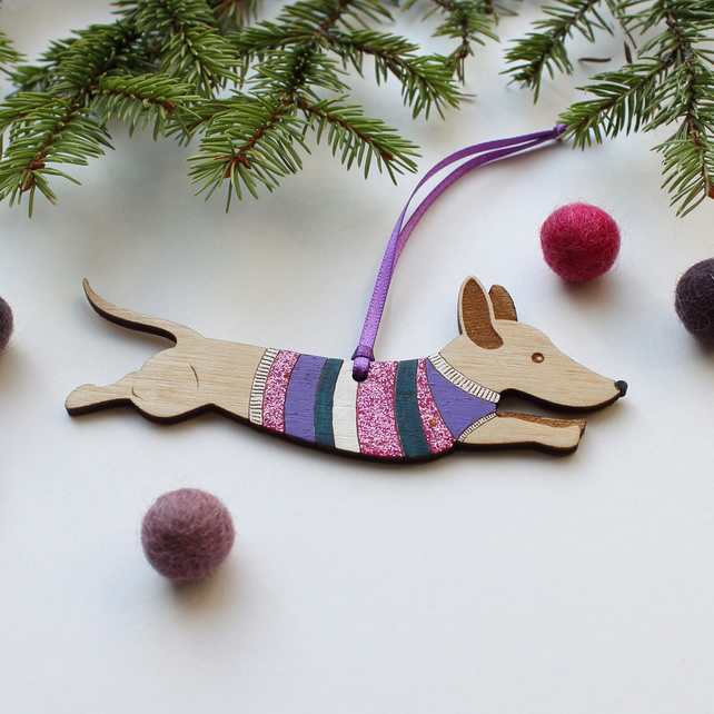 Jumping Wooden Sausage Dog in Jumper Decoration