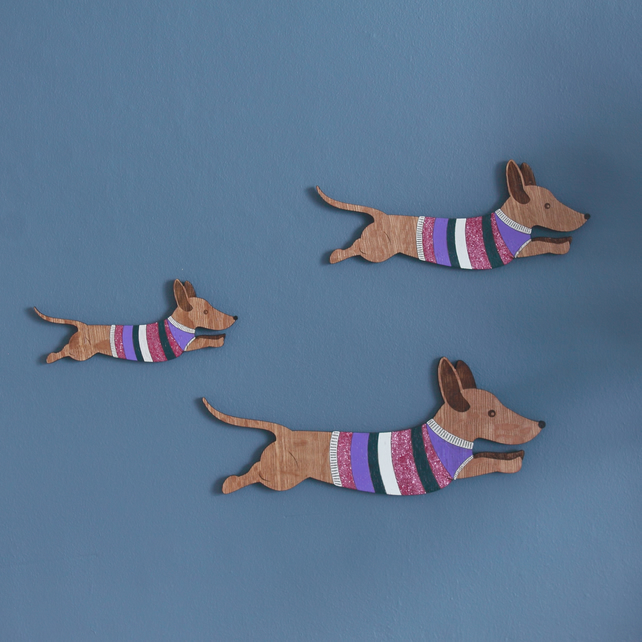 Family of Jumping Sausage Dogs - Wall decor Hangings