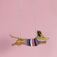 Oak Sausage Dog in Jumper Necklace - Sterling Silver Chain
