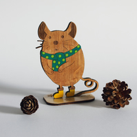 Winter Mouse in Scarf Wooden Decoration