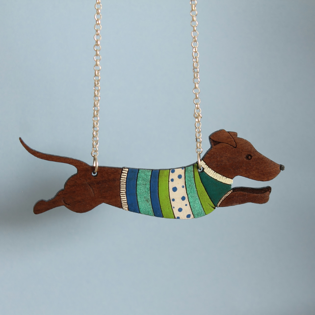 Walnut Dog in Jumper Necklace - Sterling Silver Chain
