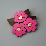 Walnut Cherry Blossom Brooch