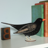 Standing Wooden Blackbird Decoration - Hand Painted