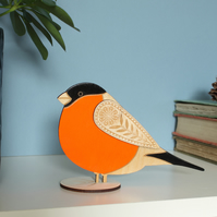 Standing Wooden Bull Finch Decoration