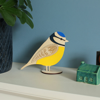 Standing Wooden Blue Tit Decoration