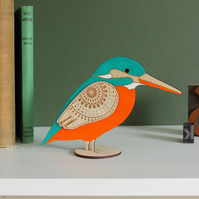 Standing Wooden Kingfisher Decoration - Hand Painted