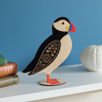 Standing Wooden Atlantic Puffin Decoration Ornament- Hand Painted