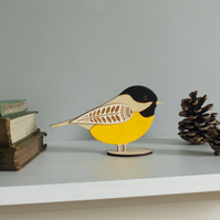 Standing Wooden Coal Tit Decoration