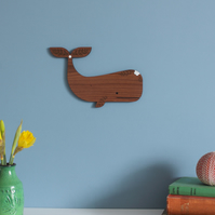 Walnut Whale Wall Hanging with Floral Detail