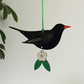 Wooden Blackbird Hanging Decoration with Flower