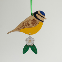 Wooden Blue Tit Hanging Decoration with Hawthorn Flower