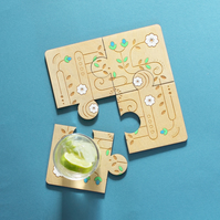 Wooden Jigsaw Geometric Spring Folk Art Coasters - Set of 4