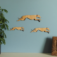 Family of Running Whippet Dogs - Wall decor Hangings