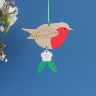 Wooden Robin Hanging Decoration with Hawthorn Flower