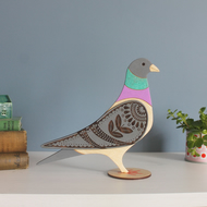 Standing Wooden Pigeon Decoration Ornament- Hand Painted