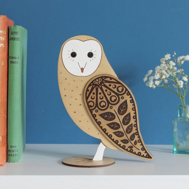 Standing Wooden Barn Owl Decoration Ornament- Hand Painted