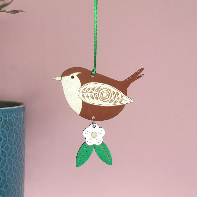 Hand Painted Jenny Wren Wooden Hanging Decoration with Flower