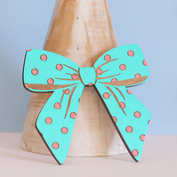 Big, Bright and Bold Wooden Bow Brooch