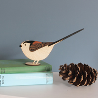 Standing Wooden Long-Tailed Tit Decoration - Hand Painted