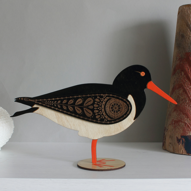 Standing Wooden Oyster Catcher Decoration Ornament- Hand Painted