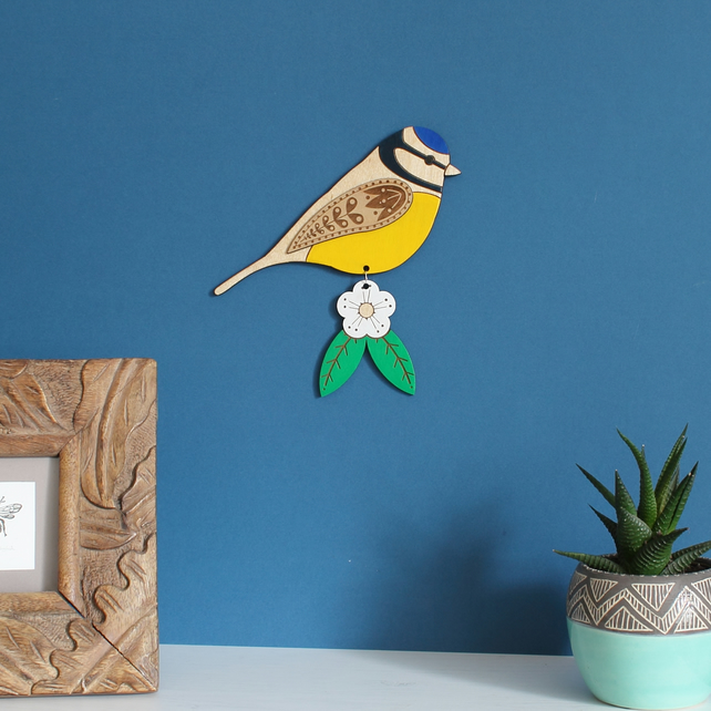 Large Hanging Wooden Blue Tit Wall Decoration