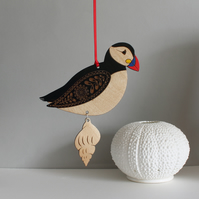 Hanging Wooden Atlantic Puffin Decoration - Etched and Hand Painted